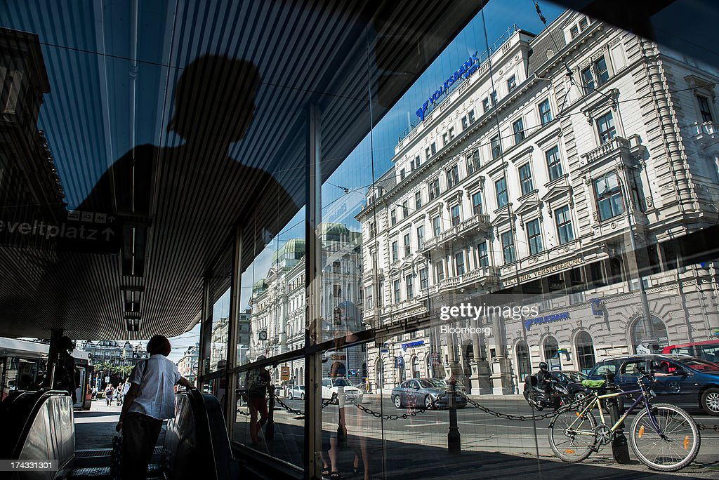The offices of Volksbank International AG, also known as Oesterreichische Volksbanken AG, stand in Vienna, Austria, on Tuesday, July 23, 2013. Kommunalkredit Austria AG, the Austrian nationalized municipal lender, will have to wind down its loan book and close when that's complete after attempts to sell the bank failed, the European Commission said. Photographer: Akos Stiller/Bloomberg via Getty Images