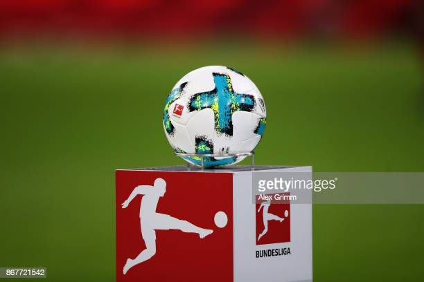 The official adidas matchball Torfabrik is seen on a plinth prior to the Bundesliga match between FC Bayern Muenchen and RB Leipzig at Allianz Arena...