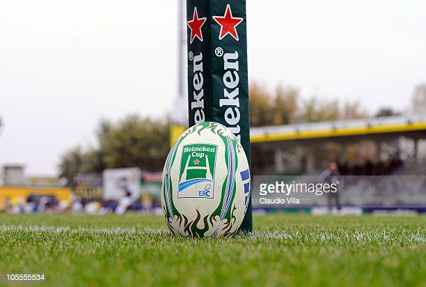 The official ball is displayed during the Heineken Cup match between Aironi Rugby and Bath at Stadio Luigi Zaffanella on October 16 2010 in Viadana...