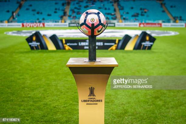 The official ball is pictured before the start of the 2017 Copa Libertadores football match between Brazil's Gremio and Paraguay's Guarani at the...