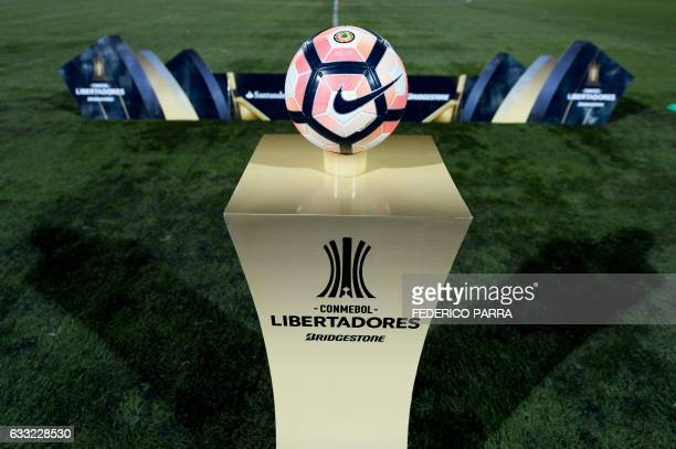 The official ball is pictured during the 2017 Copa Libertadores football match between Venezuela's Deportivo Tachira and Colombia's Junior held at...