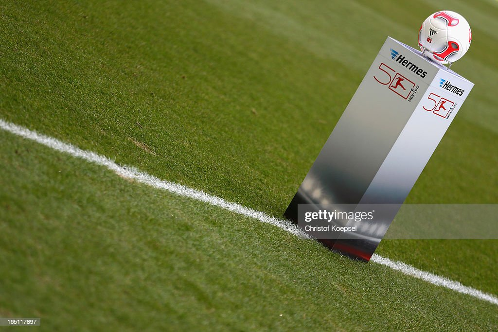 The official ball lies on a postes prior to the Bundesliga match between FC Schalke 04 and TSG 1899 Hoffenheim at Veltins-Arena on March 30, 2013 in Gelsenkirchen, Germany.