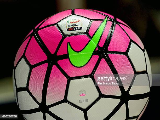 The official ball of serie A is displayed before the Serie A match between AC Chievo Verona and SS Lazio at Stadio Marc'Antonio Bentegodi on August...