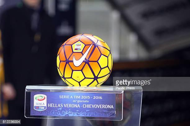 The official ball of the Italian Serie A football match between Hellas Verona FC v AC Chievo Verona The Italian Serie A football match between Hellas...