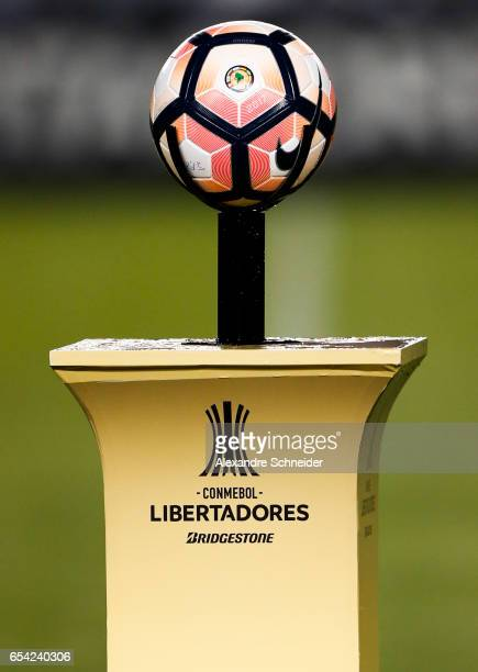 The official ball of the match before the match between Santos of Brazil and The Strongest of Bolivia for the Copa Bridgestone Libertadores 2017 at...