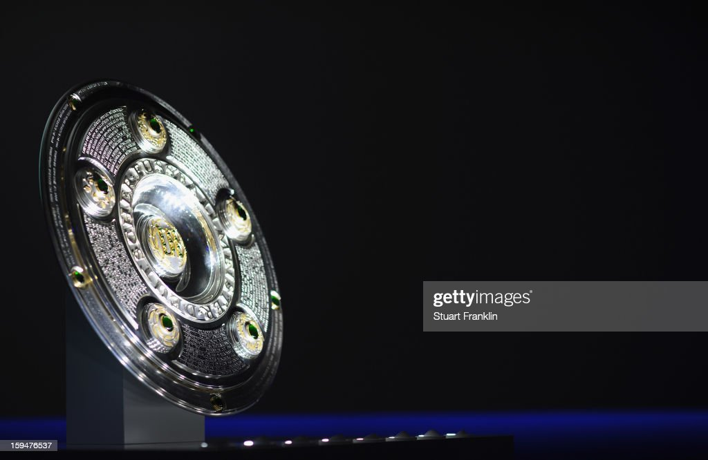 The official Bundesliga trophy on display during the press conference to announce Hermes as the new DFL premium sponsor on January 14, 2013 in Hamburg, Germany.