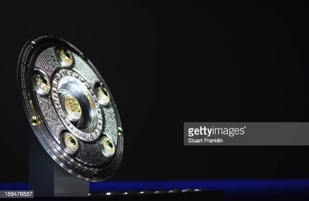 The official Bundesliga trophy on display during the press conference to announce Hermes as the new DFL premium sponsor on January 14 2013 in Hamburg...