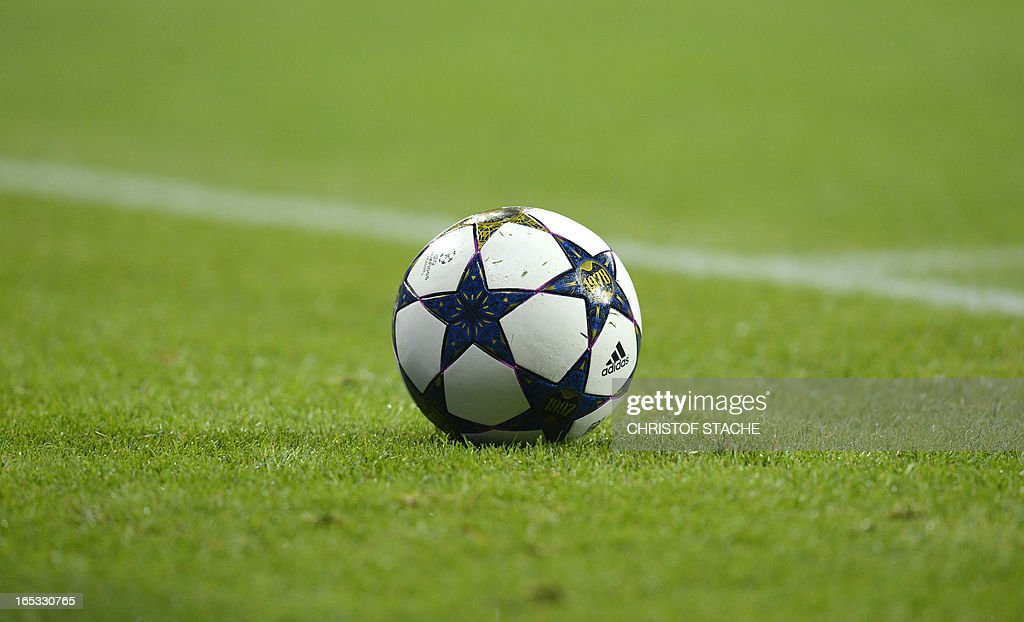 The official Champions League ball is pictured during the UEFA Champions League quarter final football match between FC Bayern Munich vs Juventus Turin in Munich, southern Germany, on April 2, 2013.