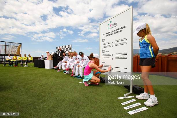 The official draw takes place ahead of the Fed Cup Tie between Australia and Russia on February 7 2014 in Hobart Australia