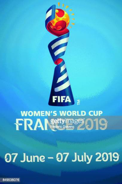 The Official emblem of the FIFA women's world cup France 2019 symbolised by a ball poised to cast its light on the elite of women's football during...