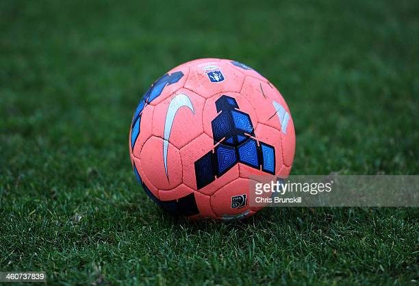 The official FA Cup with Budweiser match ball during the FA Cup with Budweiser Third Round match between Macclesfield Town and Sheffield Wednesday at...