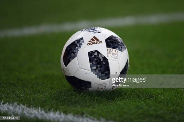 The official FIFA Wrorld Cup Russia 2018 adidas matchball Telstar is seen during the international friendly match between Germany and France at...