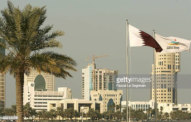 The official flag for the 15th Asian Games is seen on January 28 2005 in Doha Qatar