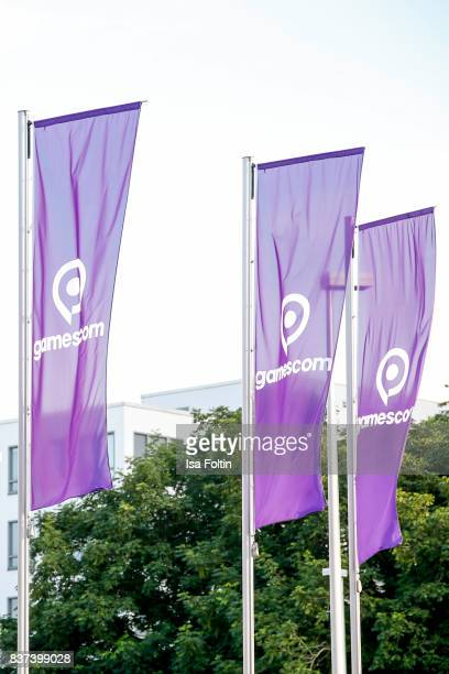 The official flags of the Gamescom 2017 gaming trade fair on August 22 2017 in Cologne Germany Gamescom is the world's largest digital gaming trade...