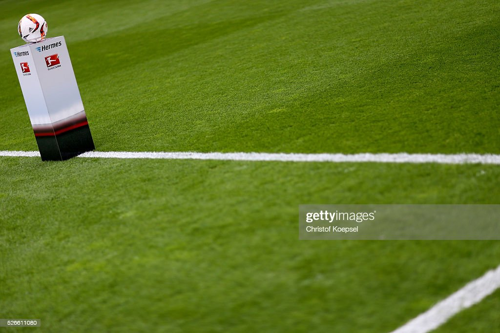 The official football is seen during the Bundesliga match between Bayer Leverkusen and Hertha BSC Berlin at BayArena on April 30, 2016 in Leverkusen, Germany. The match between Leverkusen and Berlin ended 2-1.