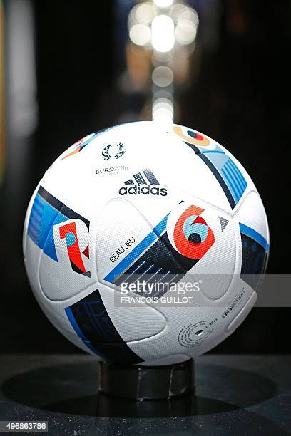The official football of the upcoming Euro 2016 football championship is pictured during its presentation on November 12 2015 at the 'Future Arena'...
