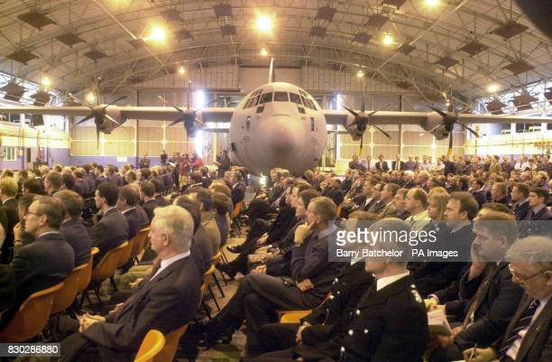 The official hand over of the first of 25 new C130J Hercules transport aircraft to the Royal Airforce which took place at RAF Lyneham Wiltshire