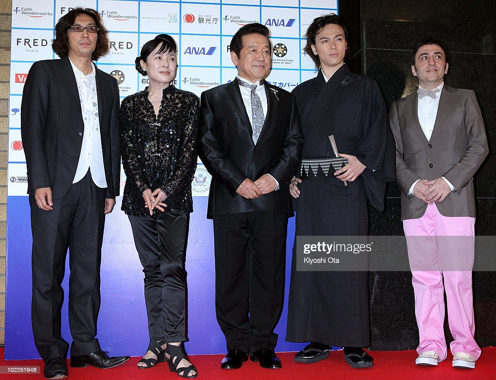 The official jury members of the Short Shorts Film Festival & Asia 2010 (L-R) film director Isao Yukisada, actress Kaori Momoi, TV newscaster Hitoshi Kusano, actor Shun Shioya and producer and program director of the Latin Beat Film Festival Alberto Calero Lugo pose on the red carpet during the Short Shorts Film Festival & Asia 2010 Award Ceremony at Jingu Kaikan on June 20, 2010 in Tokyo, Japan. The annual festival is one of the Asia's largest festivals for international short films, and the Grand Prix winner, selected from the three official Best Short Award winners, will be eligible for an Academy Award nomination in the Short Films category.