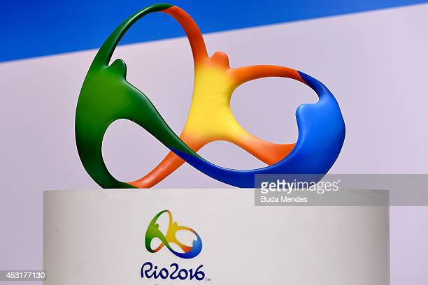 The official logo for the Rio 2016 Olympics games displays during a press conference of Two Years to Go to the Rio 2016 Olympics Opening Ceremony on...
