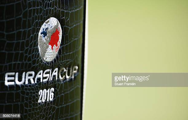 The official logo is seen on the bag of a team Europe player during the first day's fourball matches at the EurAsia Cup presented by DRBHICOM at...