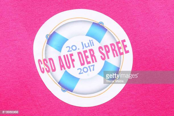 The official logo of the celebration of the FriedrichstadtPalast Christopher Street Day at Mercedes Benz Platz on July 20 2017 in Berlin Germany