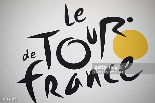 The official logo of the Tour de France is pictured on July 3 2014 at the press center in Leeds western England before the start of the 101st edition...