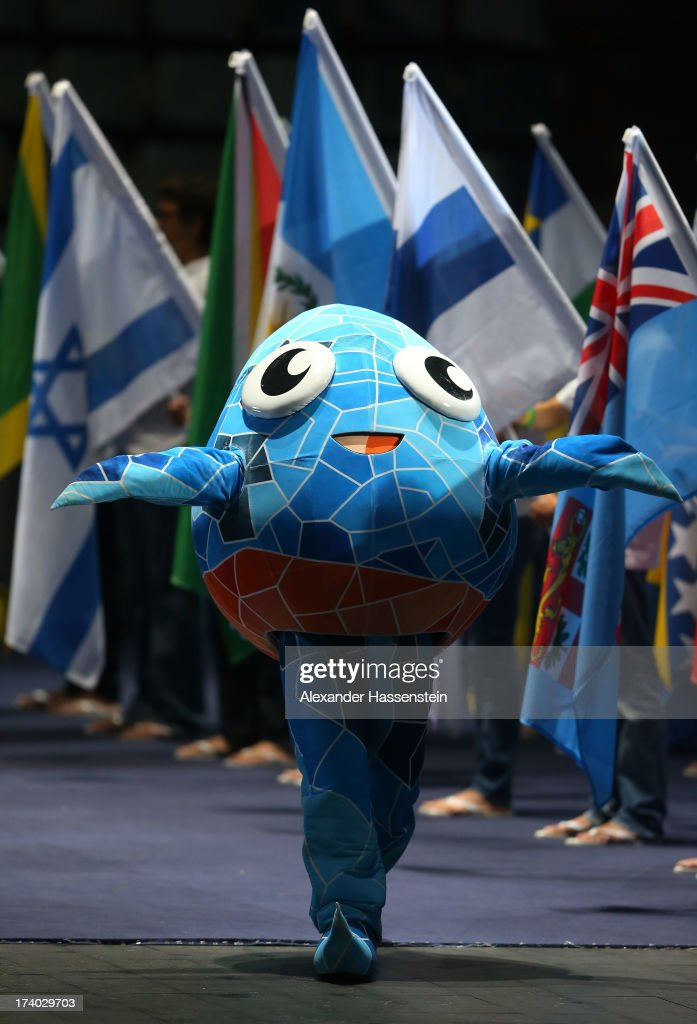 The official mascot, a drop of water, XOP, is seen during the Opening Ceremony of the 15th FINA World Championships at Palau Sant Jordi on July 19, 2013 in Barcelona, Spain.