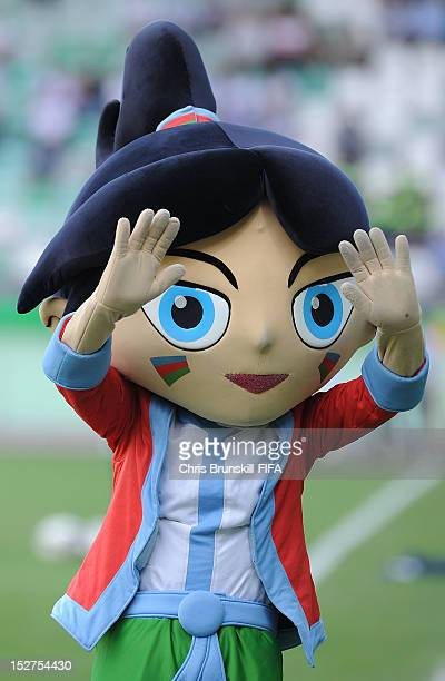 The official mascot of the FIFA U17 Women's World Cup waves to the fans during the FIFA U17 Women's World Cup Group A match between Azerbaijan and...