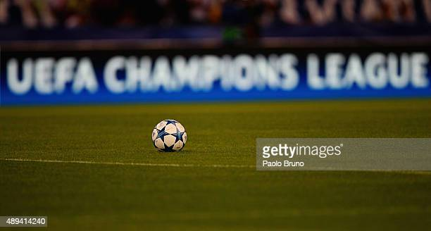 The Official match ball before the UEFA Champions League Group E match between AS Roma and FC Barcelona at Stadio Olimpico on September 16 2015 in...
