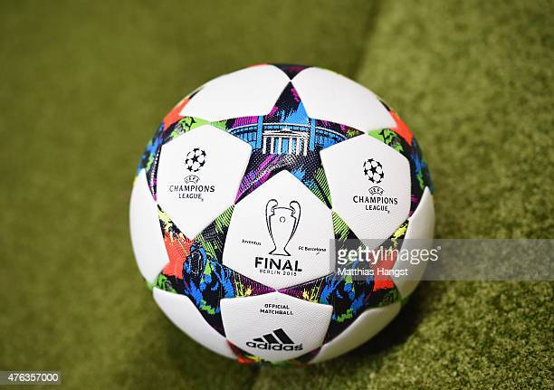 The official match ball is pictured during the UEFA Champions League Final between Juventus and FC Barcelona at Olympiastadion on June 6 2015 in...