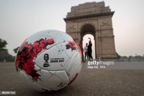 The official match ball is placed near 'India Gate' ahead of the FIFA U17 World Cup India 2017 tournament at on October 12 2017 in New Delhi India