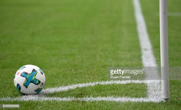 The official match ball is seen during the Bundesliga match between Hannover 96 and FC Schalke 04 at HDIArena on August 27 2017 in Hanover Germany