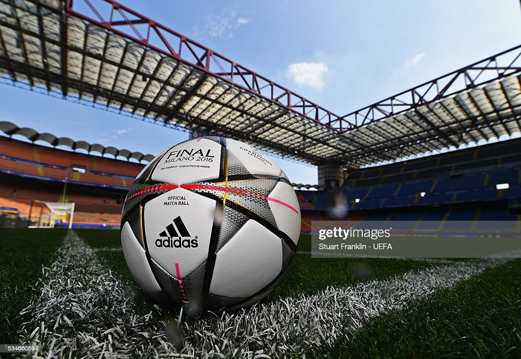 The official match ball is seen on the pitch prior to the UEFA Champions League Final between Athletico Madrid and Real Madrid at Stadio Giuseppe Meazza on May 27, 2016 in Milan, Italy.