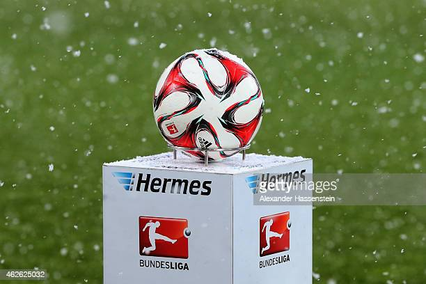The official match ball 'Torfabrik' is pictured prior to the Bundesliga match between FC Augsburg and 1899 Hoffenheim at SGL Arena on February 1 2015...