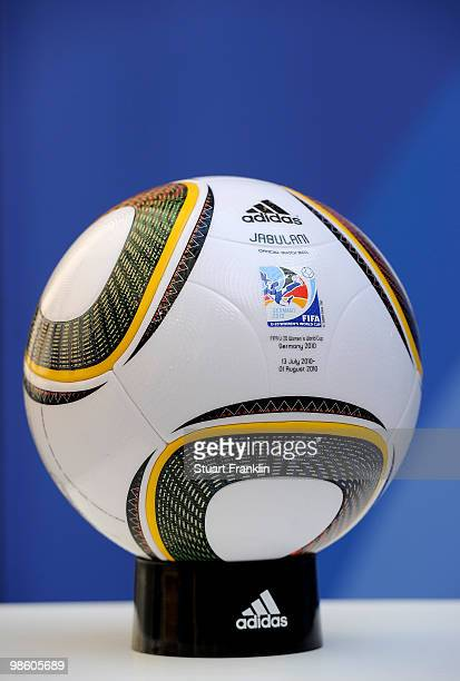 The official match Jabulani ball is pictured at the FIFA U20 Women's World Cup draw on April 22 2010 in Dresden Germany