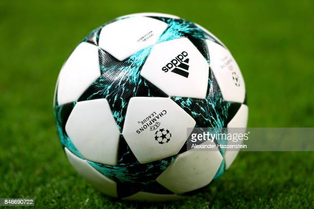 The official matchball is pictured during the UEFA Champions League group G match between RB Leipzig and AS Monaco at Red Bull Arena on September 13...