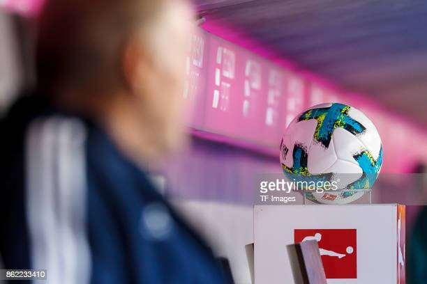 The official matchball is seen during the Bundesliga soccer match between FC Bayern Munich and SC Freiburg at Allianz Arena in Munich Germany on...