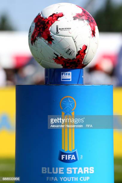 The official matchball is seen on day two of the Blue Stars/FIFA Youth Cup 2017 at the Buchlern sports complex on May 25 2017 in Zurich Switzerland