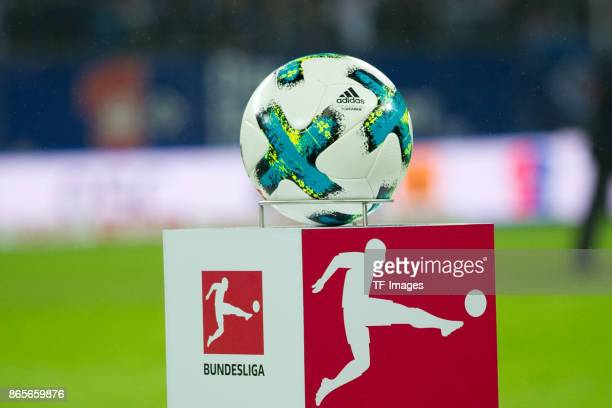 The official matchball is seen prior the Bundesliga match between Hamburger SV and FC Bayern Muenchen at Volksparkstadion on October 21 2017 in...