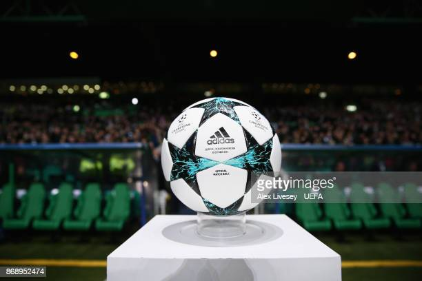 The official matchball is seen prior to the UEFA Champions League group B match between Celtic FC and Bayern Muenchen at Celtic Park on October 31...