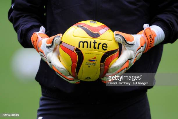 The official matchball of the Football League the Mitre Delta V12 Fluo