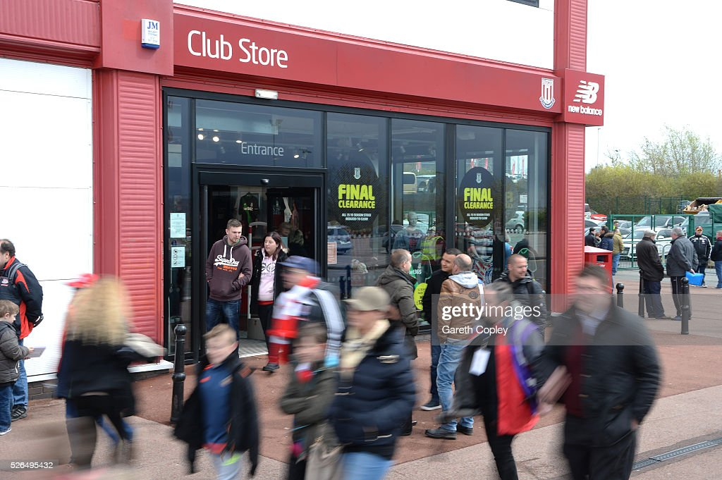 The official merchandise store is seen prior to the Barclays Premier League match between Stoke City and Sunderland at the Britannia Stadium on April 30, 2016 in Stoke on Trent, England.