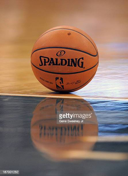 The official NBA basketball is on the floor before tipoff between the Oklahoma City Thunder and the Utah Jazz at EnergySolutions Arena October 30...
