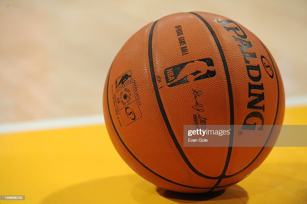 The official NBA game ball is shown during the game between the Los Angeles Lakers and the Cleveland Cavaliers at Staples Center on January 13, 2013 in Los Angeles, California.