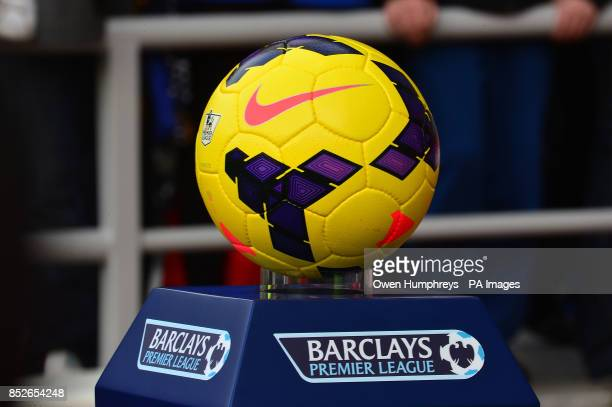 The official Nike Barclays Premier League winter matchball on display before the match