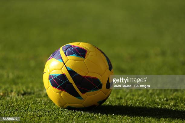 The official Nike Premier League Winter Matchball on the pitch