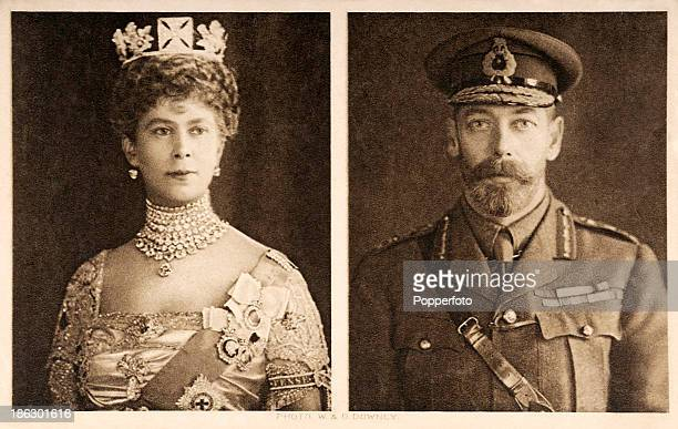The official portraits which accompanied Christmas greetings from King George V and Queen Mary to British Armed Forces fighting in World War One at...