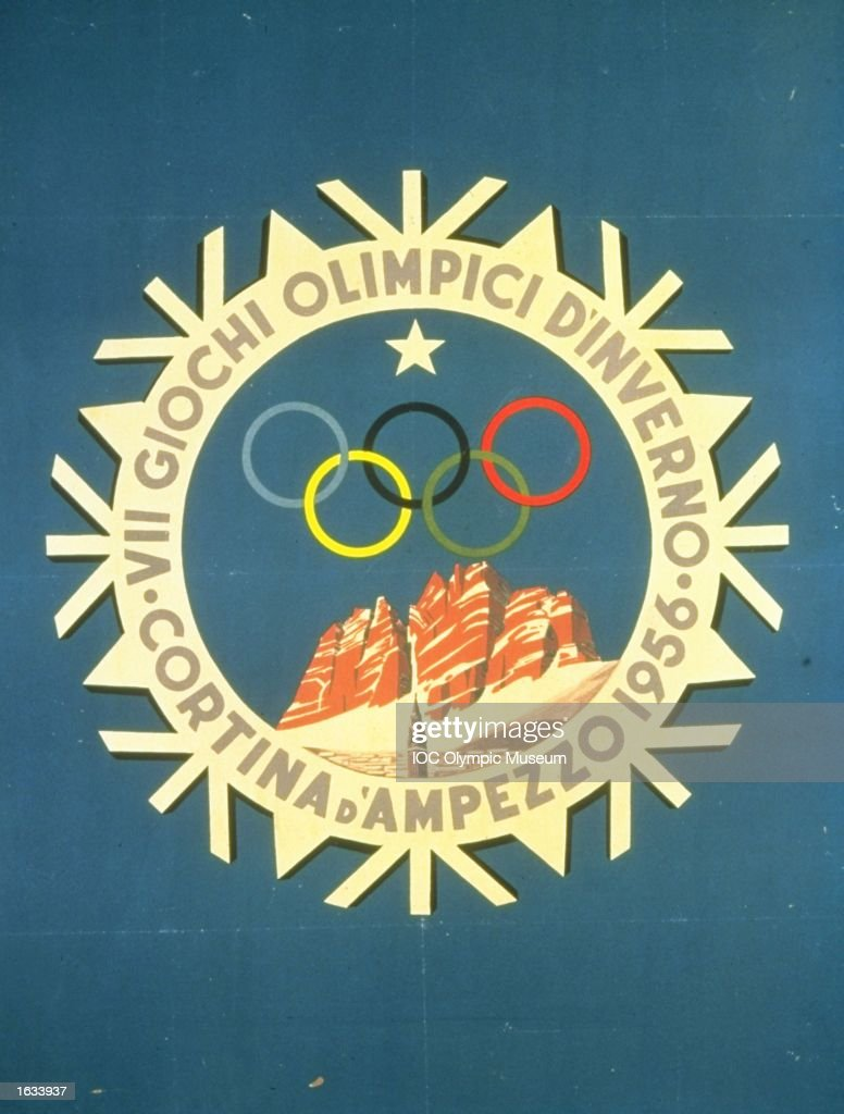 The official poster for the 1956 Winter Olympic games held in Cortina D''Ampezzo, Italy. The poster is in the IOC, Olympic Museum in Lausanne, Switzerland. \ Mandatory Credit: IOC, Olympic Museum /Allsport
