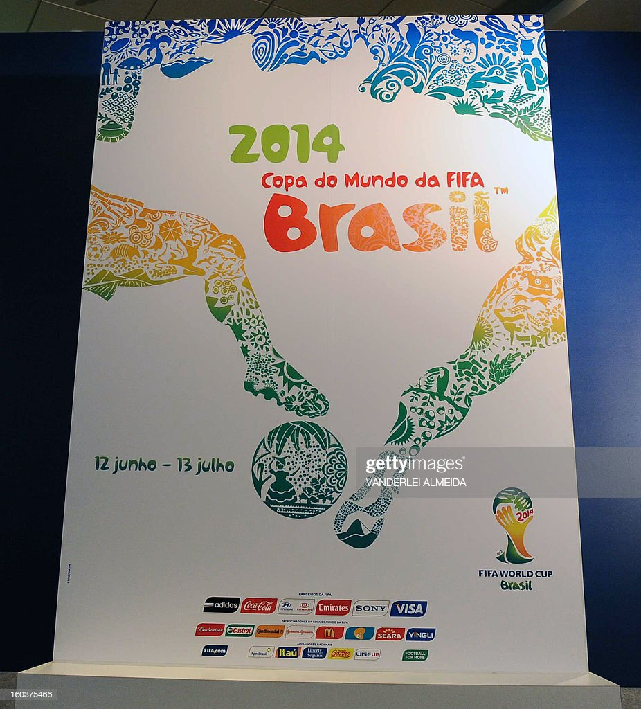 The official poster of the FIFA WC Brazil 2014 presented in Rio de Janeiro, Brazil, on January 30, 2013. AFP PHOTO/VANDERLEI ALMEIDA