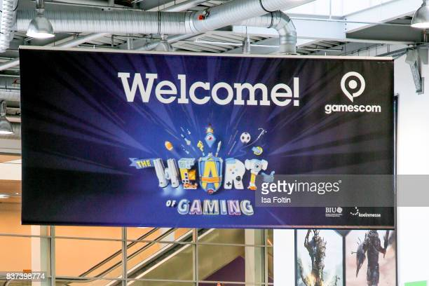 The official poster of the Gamescom 2017 gaming trade fair on August 22 2017 in Cologne Germany Gamescom is the world's largest digital gaming trade...
